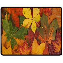 Colorful Autumn Leaves Leaf Background Double Sided Fleece Blanket (medium)