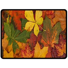 Colorful Autumn Leaves Leaf Background Double Sided Fleece Blanket (large)