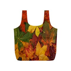 Colorful Autumn Leaves Leaf Background Full Print Recycle Bags (s)