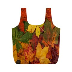 Colorful Autumn Leaves Leaf Background Full Print Recycle Bags (m)