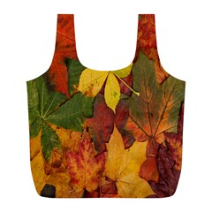 Colorful Autumn Leaves Leaf Background Full Print Recycle Bags (l)