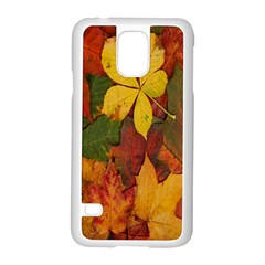 Colorful Autumn Leaves Leaf Background Samsung Galaxy S5 Case (white)