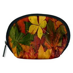 Colorful Autumn Leaves Leaf Background Accessory Pouches (medium)