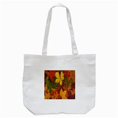 Colorful Autumn Leaves Leaf Background Tote Bag (white)