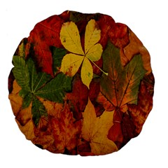 Colorful Autumn Leaves Leaf Background Large 18  Premium Flano Round Cushions
