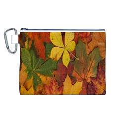 Colorful Autumn Leaves Leaf Background Canvas Cosmetic Bag (l)