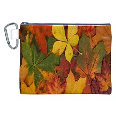 Colorful Autumn Leaves Leaf Background Canvas Cosmetic Bag (xxl)