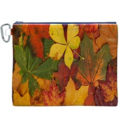 Colorful Autumn Leaves Leaf Background Canvas Cosmetic Bag (xxxl)