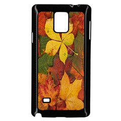 Colorful Autumn Leaves Leaf Background Samsung Galaxy Note 4 Case (black)