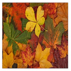 Colorful Autumn Leaves Leaf Background Large Satin Scarf (square)