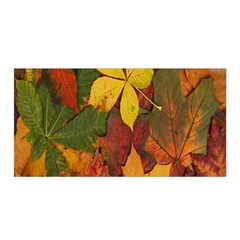 Colorful Autumn Leaves Leaf Background Satin Wrap