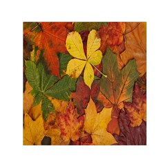 Colorful Autumn Leaves Leaf Background Small Satin Scarf (square)