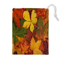 Colorful Autumn Leaves Leaf Background Drawstring Pouches (extra Large)