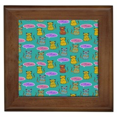 Meow Cat Pattern Framed Tiles