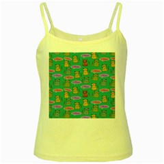 Meow Cat Pattern Yellow Spaghetti Tank