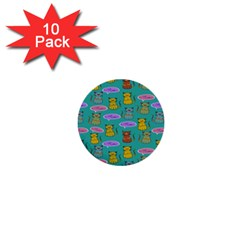 Meow Cat Pattern 1  Mini Buttons (10 Pack)