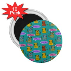 Meow Cat Pattern 2 25  Magnets (10 Pack)