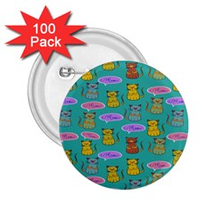 Meow Cat Pattern 2 25  Buttons (100 Pack)
