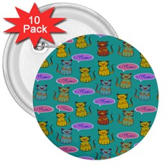 Meow Cat Pattern 3  Buttons (10 pack)