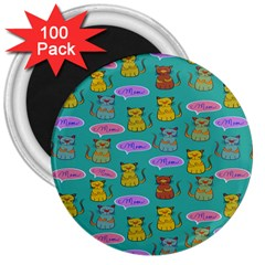 Meow Cat Pattern 3  Magnets (100 Pack)