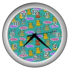 Meow Cat Pattern Wall Clocks (silver)