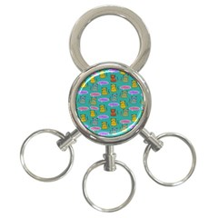 Meow Cat Pattern 3 Ring Key Chains