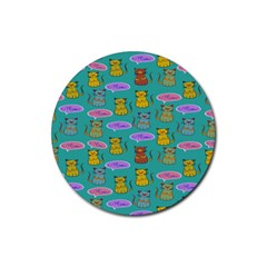 Meow Cat Pattern Rubber Round Coaster (4 Pack)