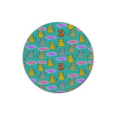 Meow Cat Pattern Magnet 3  (round)