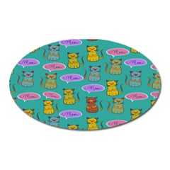 Meow Cat Pattern Oval Magnet