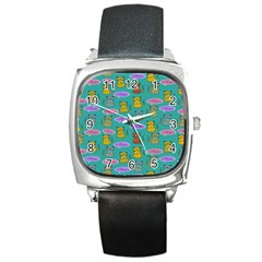Meow Cat Pattern Square Metal Watch