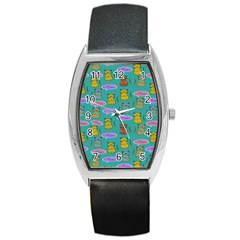Meow Cat Pattern Barrel Style Metal Watch