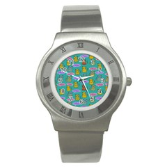 Meow Cat Pattern Stainless Steel Watch