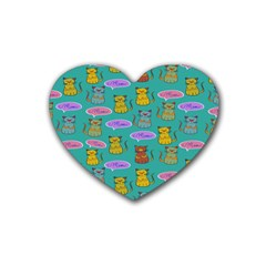 Meow Cat Pattern Heart Coaster (4 Pack)