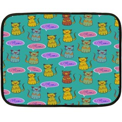 Meow Cat Pattern Double Sided Fleece Blanket (mini)