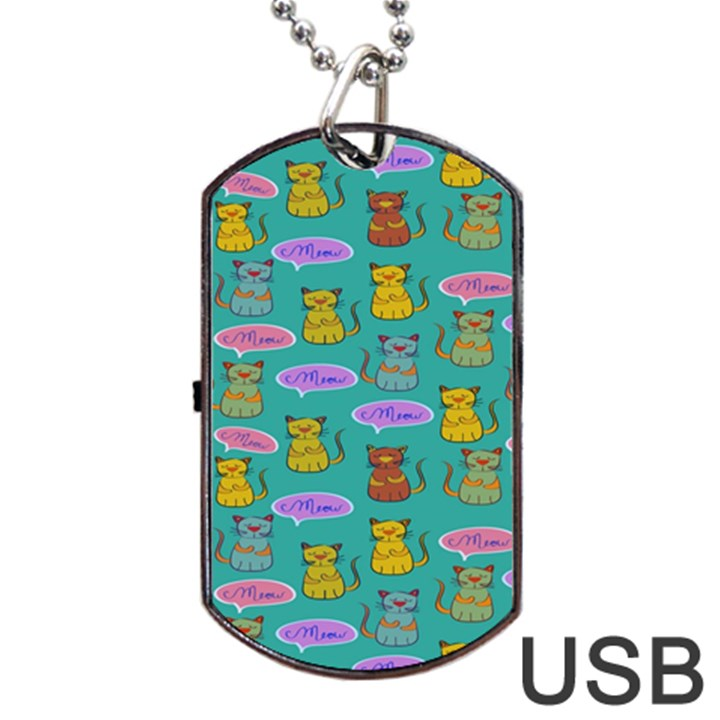 Meow Cat Pattern Dog Tag USB Flash (Two Sides)