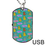 Meow Cat Pattern Dog Tag USB Flash (Two Sides) Back