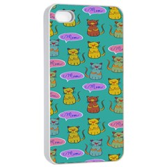 Meow Cat Pattern Apple Iphone 4/4s Seamless Case (white)