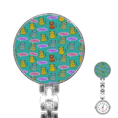 Meow Cat Pattern Stainless Steel Nurses Watch