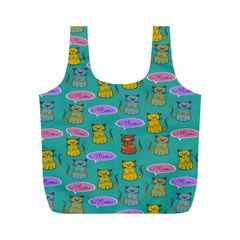 Meow Cat Pattern Full Print Recycle Bags (m)