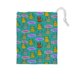 Meow Cat Pattern Drawstring Pouches (large)