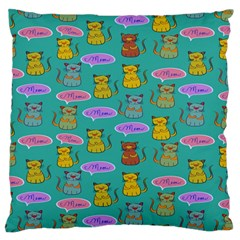 Meow Cat Pattern Large Flano Cushion Case (two Sides)