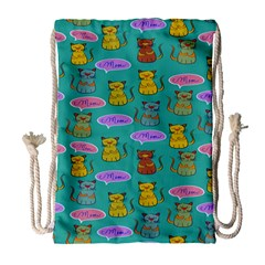 Meow Cat Pattern Drawstring Bag (Large)