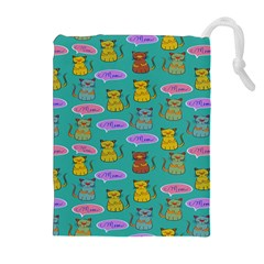 Meow Cat Pattern Drawstring Pouches (Extra Large)