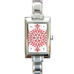 Red Pattern Filigree Snowflake On White Rectangle Italian Charm Watch