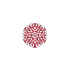 Red Pattern Filigree Snowflake On White 1  Mini Buttons