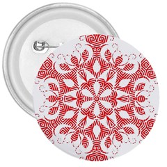 Red Pattern Filigree Snowflake On White 3  Buttons