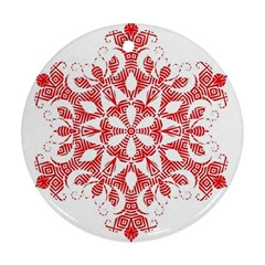 Red Pattern Filigree Snowflake On White Ornament (round)