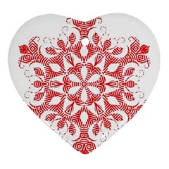 Red Pattern Filigree Snowflake On White Ornament (heart)
