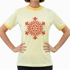 Red Pattern Filigree Snowflake On White Women s Fitted Ringer T Shirts