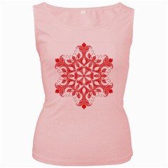 Red Pattern Filigree Snowflake On White Women s Pink Tank Top